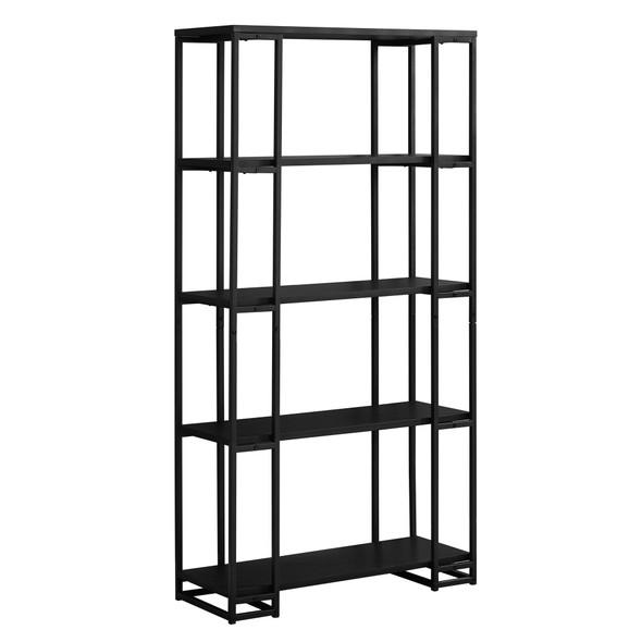 """12.5"""" x 32"""" x 62"""" Black, Mdf, Metal - Bookcase"""