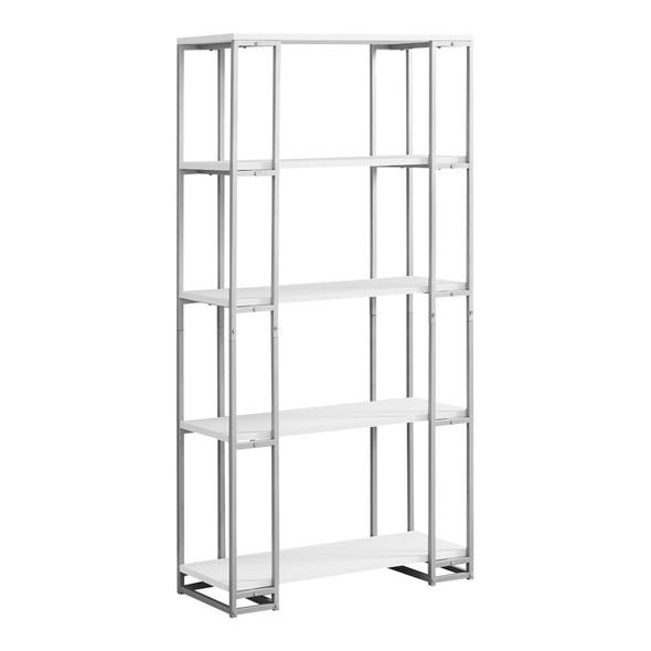 "12.5"" x 32"" x 62"" White, Silver, Mdf, Metal - Bookcase"