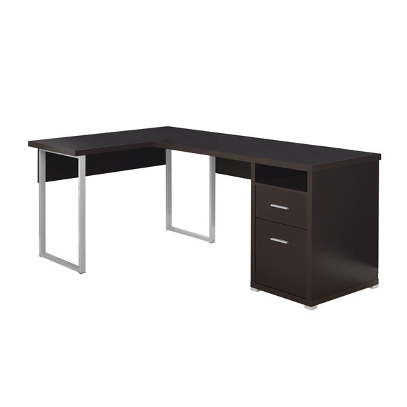 "47.25"" x 78.75"" x 30"" Cappuccino, Silver, Particle Board, Hollow-Core, Metal - Computer Desk"