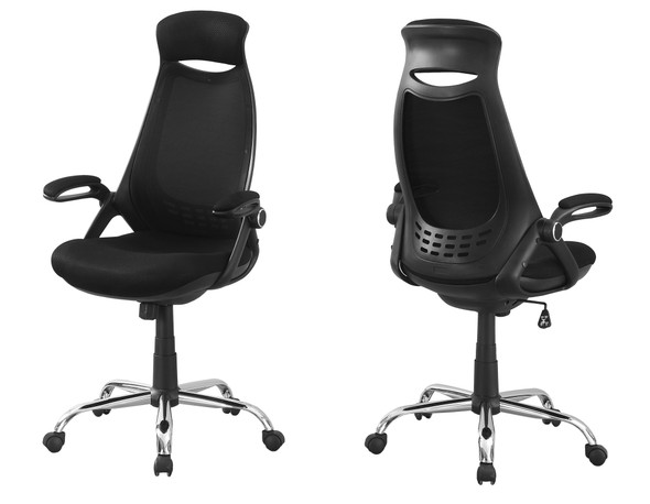 """23.75"""" x 28"""" x 93.75"""" Black, Foam, Metal - Office Chair With A High Back"""