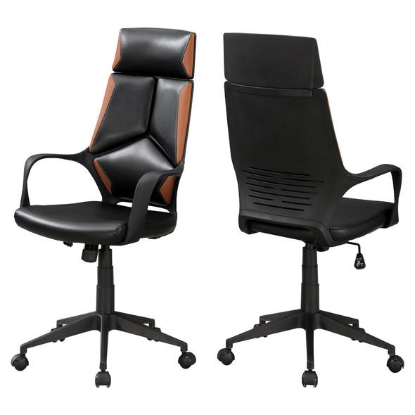 """24.5"""" x 25"""" x 95.5"""" Black, Brown, Foam, MetalLeather-Look - Office Chair"""