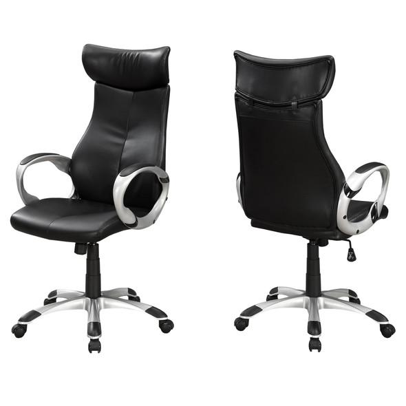 "26"" x 25.5"" x 99"" Black, Silver, Foam, Metal - High Back Office Chair"
