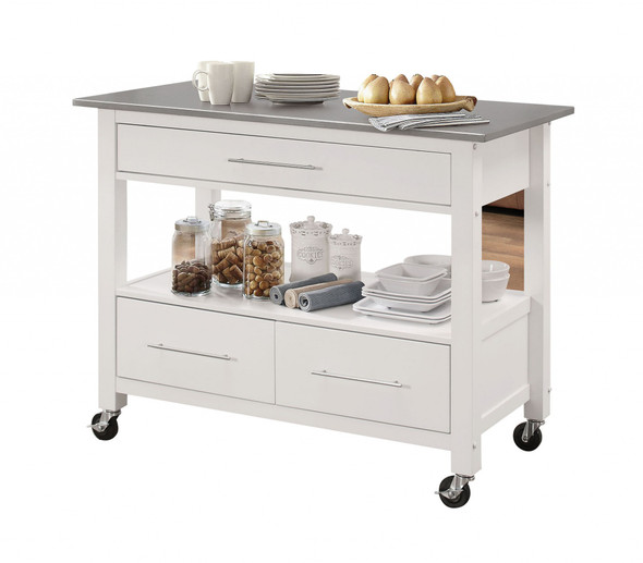 """43"""" X 22"""" X 36"""" Stainless Steel And White Kitchen Island"""