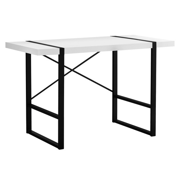 "23.75"" x 49"" x 30"" White, Black, Particle Board, Hollow-Core, Metal - Computer Desk"