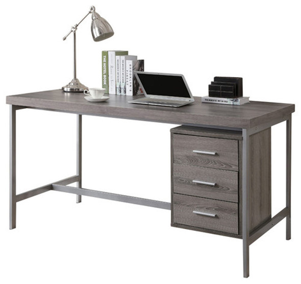 """30"""" x 60"""" x 31"""" Dark Taupe, Silver, Particle Board, Hollow-Core, Metal - Computer Desk With A Hollow Core"""