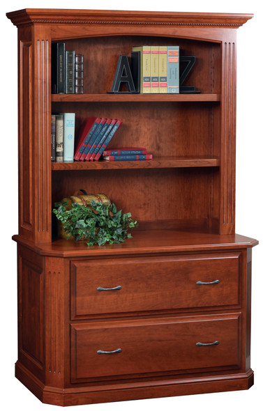 """48"""" x 23.5"""" x 77.5"""" Wooden Acres Stain Lateral File amp; Hutch"""