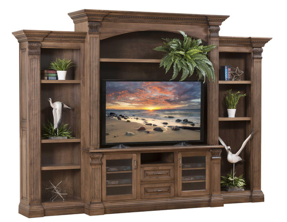 "132"" x 22.75"" x 95.25"" Wooden Rock Tavern Stain Entertainment with Side Bookcases"