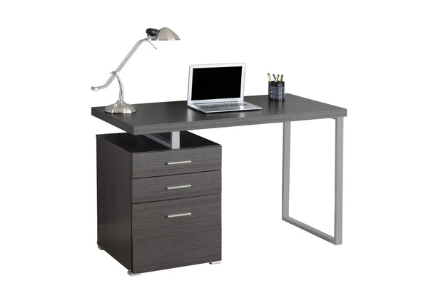 "23.75"" x 47.25"" x 30"" Grey, Silver, Particle Board, Hollow-Core, Metal, - Computer Desk"
