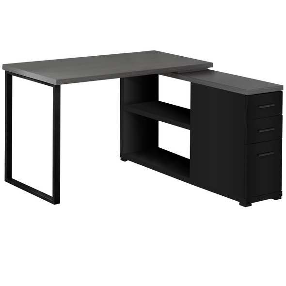 "47.25"" x 47.25"" x 29.5"" Black, Grey, Particle Board, Hollow-Core, Metal - Computer Desk With A Grey Top"