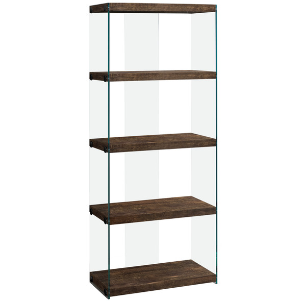 "12"" x 24"" x 58.75"" Brown, Particle Board, Tempered Glass - Bookcase"