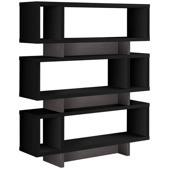 "12"" x 47.25"" x 54.75"" Black, Grey, Particle Board, Hollow-Core - Bookcase"