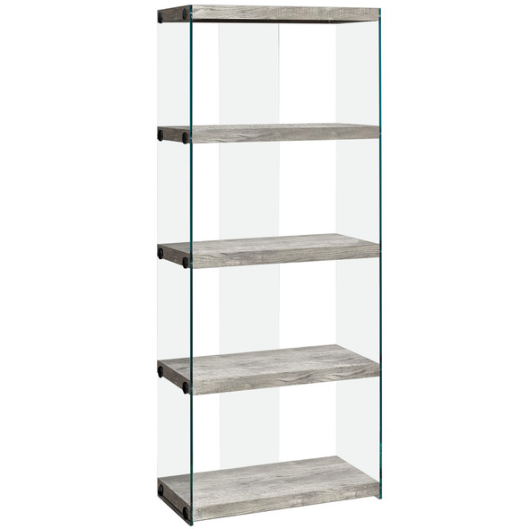 "12"" x 24"" x 58.75"" Grey, Particle Board, Tempered Glass - Bookcase"