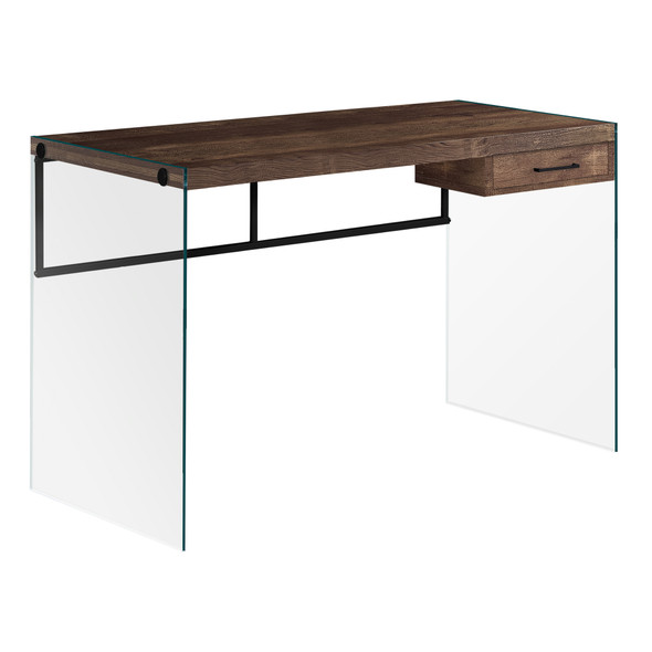 """23.75"""" x 48"""" x 30"""" Brown, Black, Clear, Particle Board - Computer Desk"""