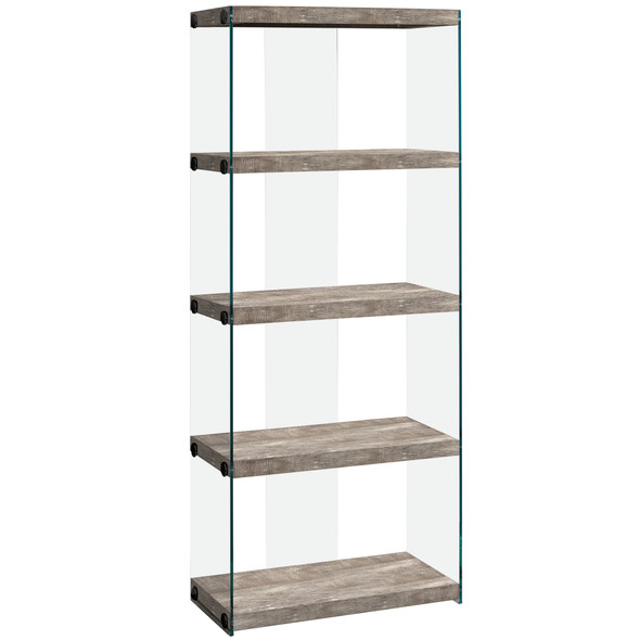 "12"" x 24"" x 58.75"" Taupe, Particle Board, Tempered Glass - Bookcase"