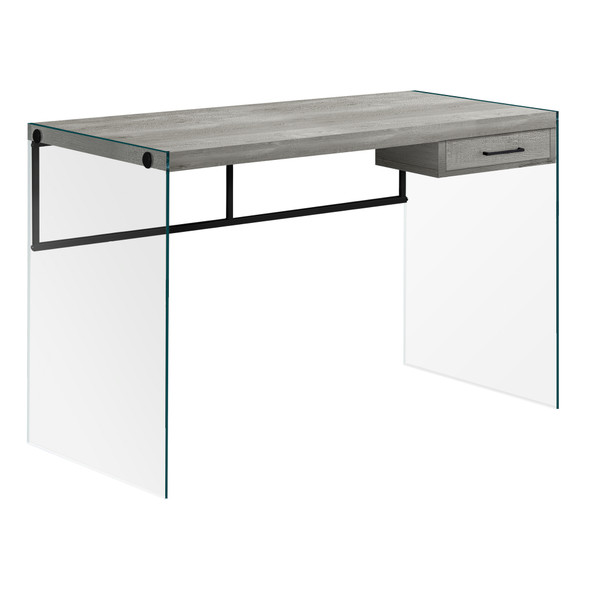 """23.75"""" x 48"""" x 30"""" Grey, Black, Clear, Particle Board, Glass, Metal, Tempered Gl - Computer Desk"""