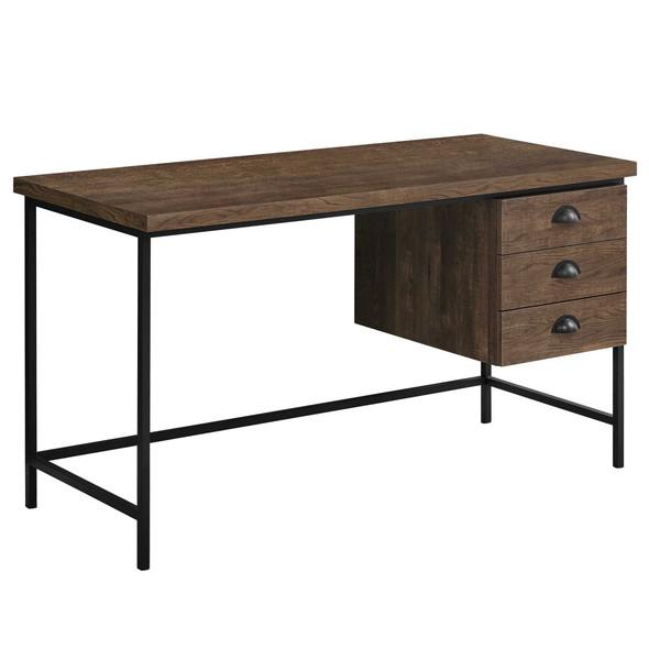 "23.75"" x 55.25"" x 30"" Brown, Black, Particle Board, Hollow-Core, Metal - Computer Desk"