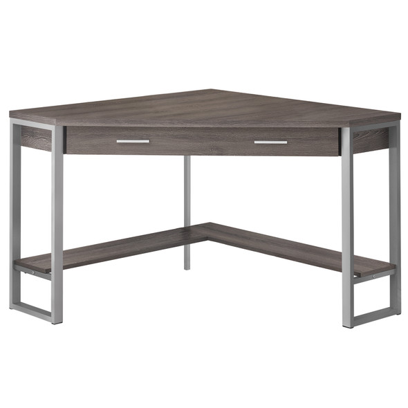 """42"""" x 42"""" x 30"""" Dark Taupe, Silver, Particle Board, Hollow-Core, Metal - Computer Desk"""