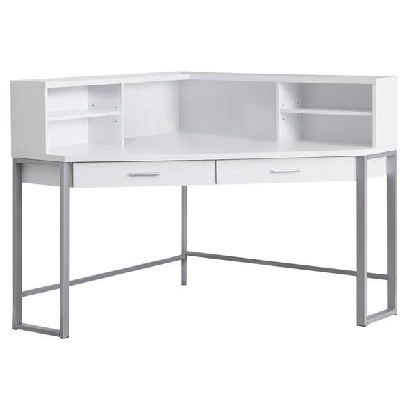 "47.5"" x 47.5"" x 42"" White, Silver, Particle Board, Hollow-Core, Metal - Computer Desk"