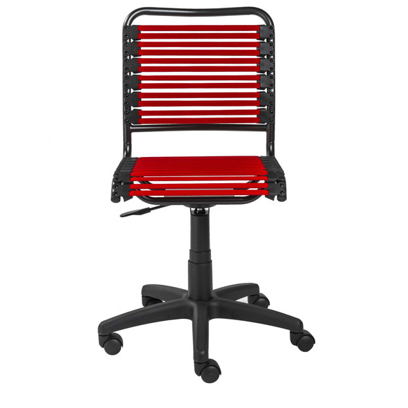 """18.12"""" X 24"""" X 37.21"""" Red Flat Bungie Cords Low Back Office Chair with Graphite Black Frame and Base"""