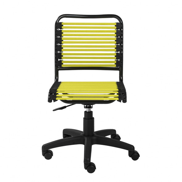 """18.12"""" X 24"""" X 37.21"""" Green Flat Bungie Cords Low Back Office Chair with Graphite Black Frame and Base"""