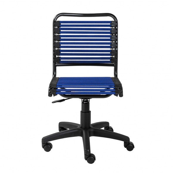 """18.12"""" X 24"""" X 37.21"""" Blue Flat Bungie Cords Low Back Office Chair with Graphite Black Frame and Base"""