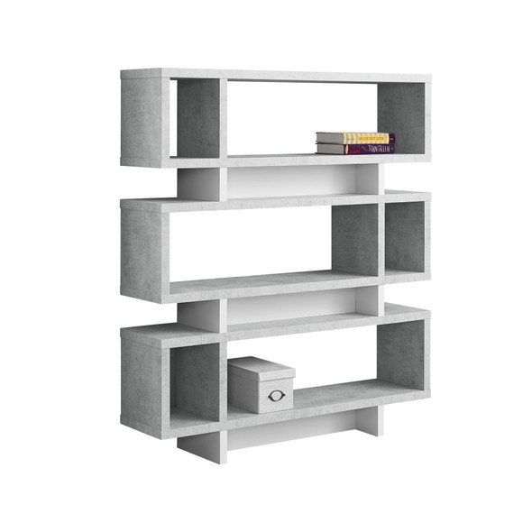 "12"" x 47.25"" x 54.75"" Grey, White, Particle Board, Hollow-Core - Bookcase"