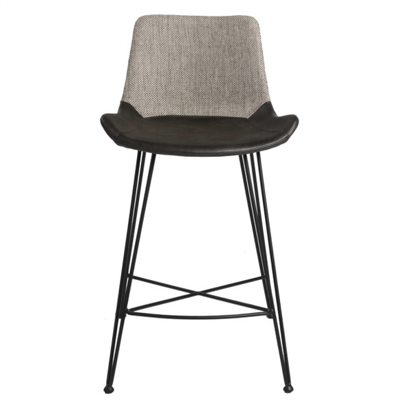 "22.45"" X 19.3"" X 35.83"" Light Gray Leatherette Counter Stool with Matte Black Legs"