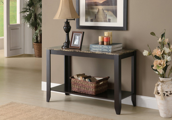 """28.75"""" Cappuccino Particle Board Accent Table with a Marble Top"""