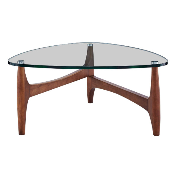 """35.44"""" X 35.44"""" X 15.75"""" Clear Tempered Glass Coffee Table with Walnut Base"""