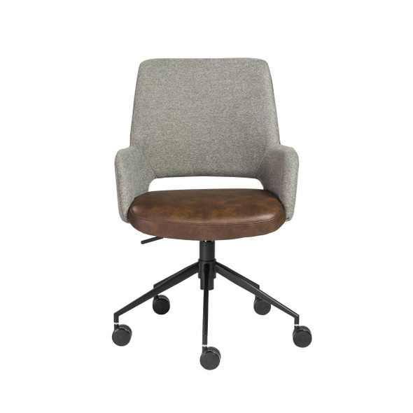 """21.26"""" X 25.60"""" X 37.21"""" Office Chair in Gray Fabric and Light Brown Leatherette with Black Base"""