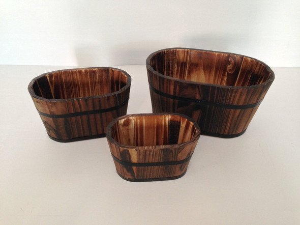 "1"" x 10"" x 7"" Brown, Wood Garden Planter - 3 Piece"