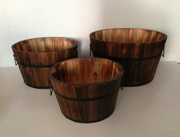 "1"" x 15"" x 1"" Brown, Wood, Garden Planter - 3 Piece"