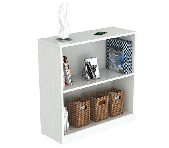 """31.5"""" Lacrina-White Melamine and Engineered Wood Bookcase"""