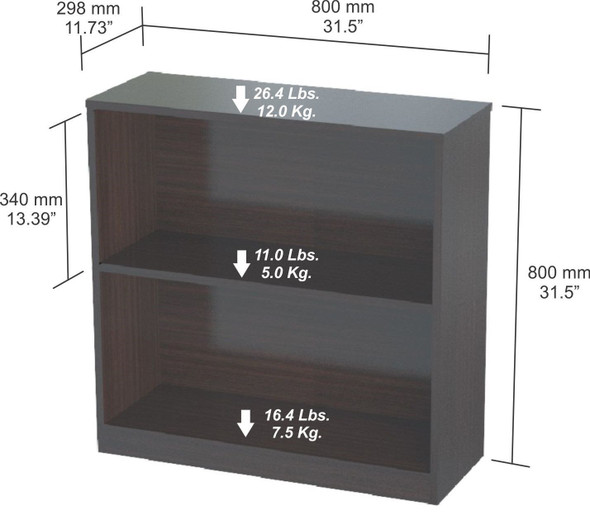 "31.5"" Espresso and Wenge Melamine and Engineered Wood Bookcase"