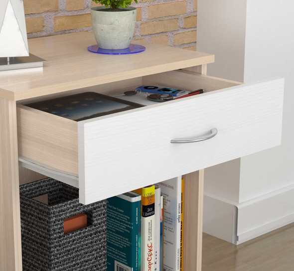 """23.4"""" Lacrina-White Solid Composite Wood Nightstand"""