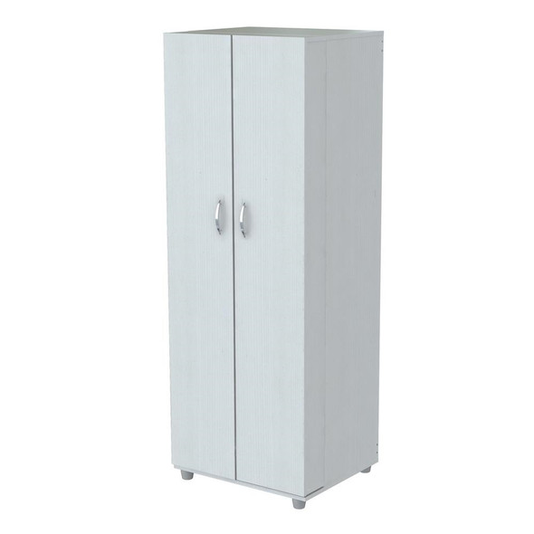 "66.1"" White Melamine and Engineered Wood Storage Cabinet"