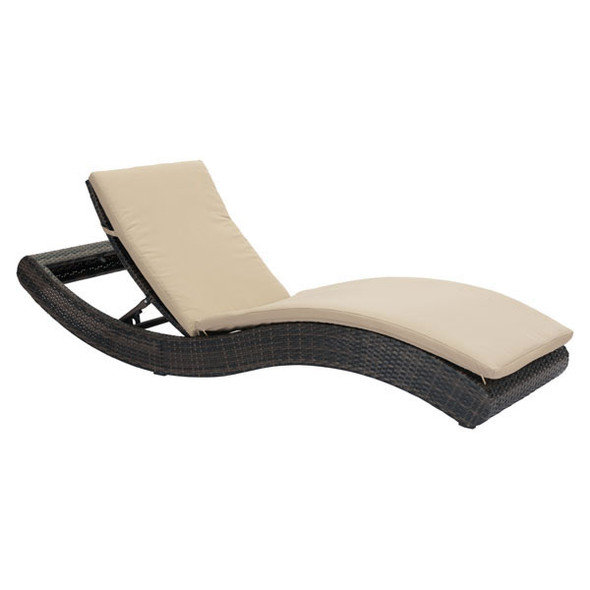 """27.5"""" X 78.5"""" X 14"""" Brown And Beige Synthetic Weave Beach Chaise Lounge"""
