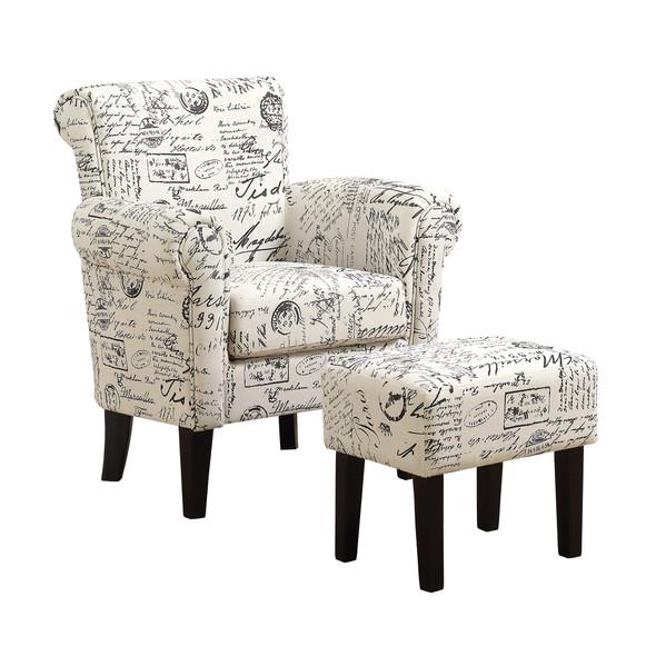 """42"""" x 51"""" x 51.5"""" Beige, Black, Foam, Solid Wood, Cotton, Linen - 2pcs Accent Chair Set"""