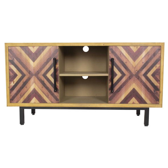 """25.25"""" x 47.25"""" x 15.75"""" MDF Brown Contemporary Wooden Media Console Cabinet"""