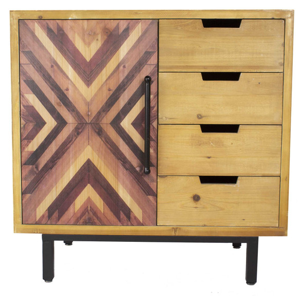"""31.5"""" x 31.5"""" x 15.75"""" MDF Brown Contemporary Wooden Cabinet"""