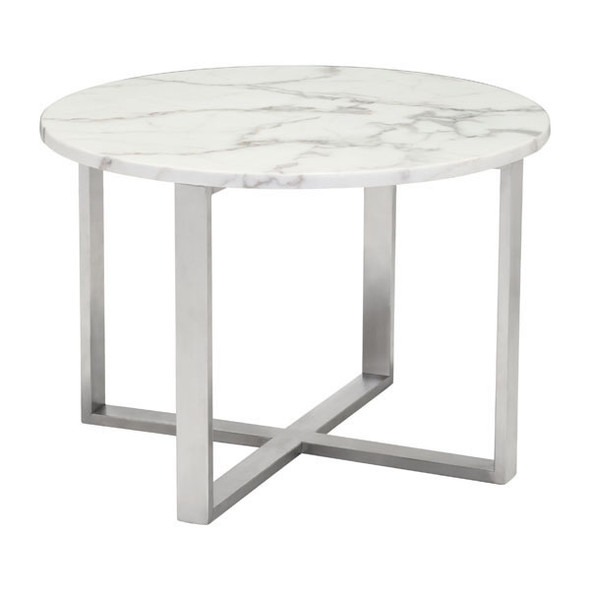 """24"""" X 24"""" X 16.9"""" Stone And Ss Globe End Table"""