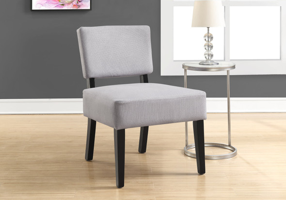 """31.5"""" Light Grey Polyester, Foam, and Solid Wood Accent Chair"""
