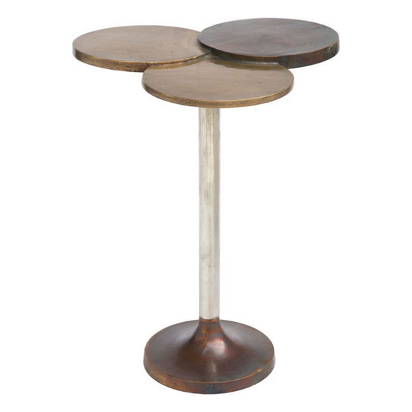 "15.8"" X 15.8"" X 20"" Black And White Aluminium Accent Table"