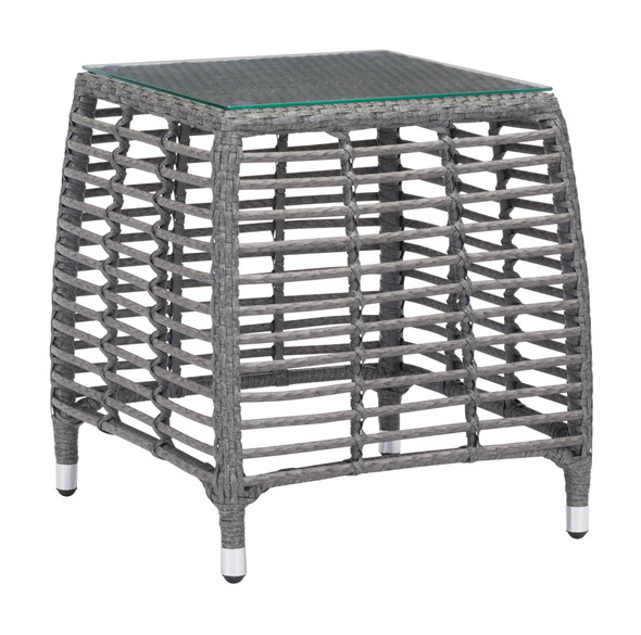 """20"""" x 20"""" x 22"""" Gray amp; Beige, Tempered Glass, Aluminum Frame, Synthetic Weave, Beach Side Table"""