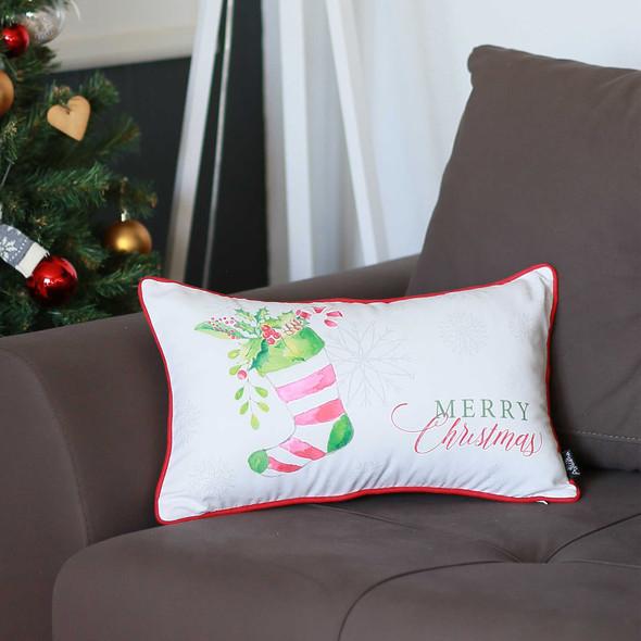 "20"" x 12""Christmas Socks Printed Decorative Throw Pillow Cover"