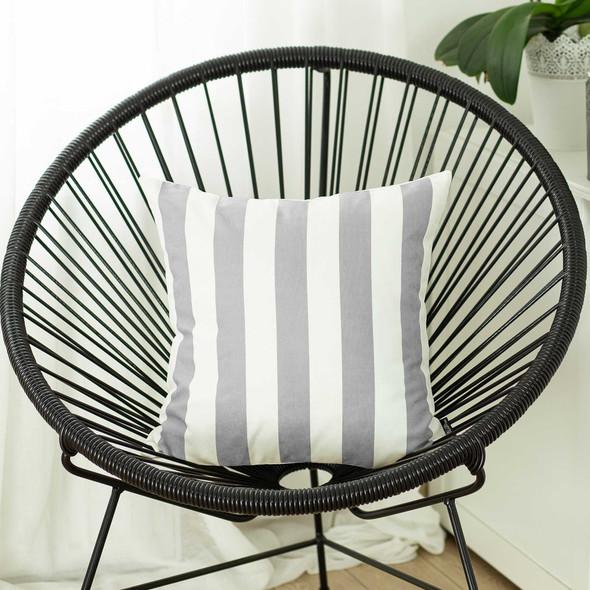 "18""x18""Gray Geometric Stripe Decorative Throw Pillow Cover Printed"