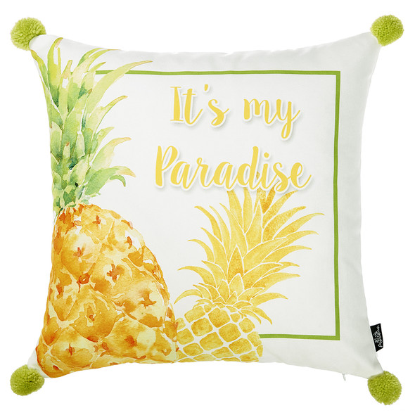 "18""x 18"" Tropical Paradise Printed Decorative Throw Pillow Cover"