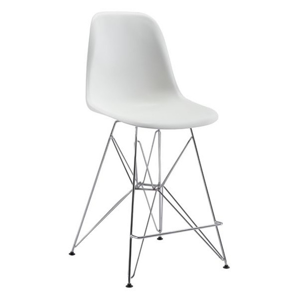 "19"" X 20.3"" X 39"" White Polypropylene Counter Chair"