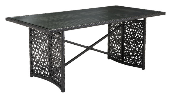 """70.5"""" x 35.5"""" x 30"""" Brown, Tempered Glass, Aluminum Frame, Synthetic Weave, Cruz Table"""