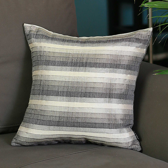 "17""x 17"" Brown Jacquard Stripe Decorative Throw Pillow Cover - 355396"